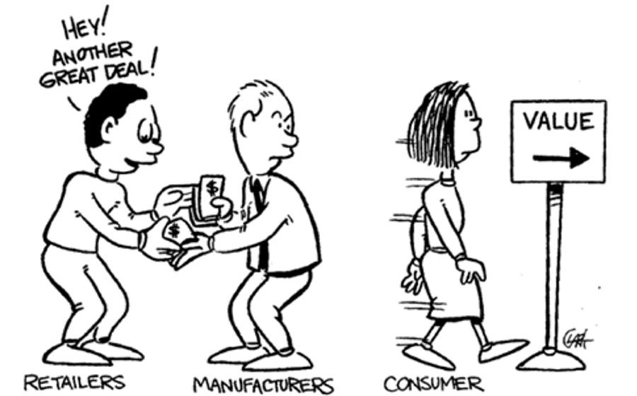 Retailer, manufacturers, and consumer.